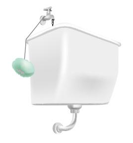 トイレの小便器上方に設置されているハイタンク内にマーキュリーを浮かべる前にヒモの長さを決める(マーキュリーの位置がタンクの高さの1/2位に)。